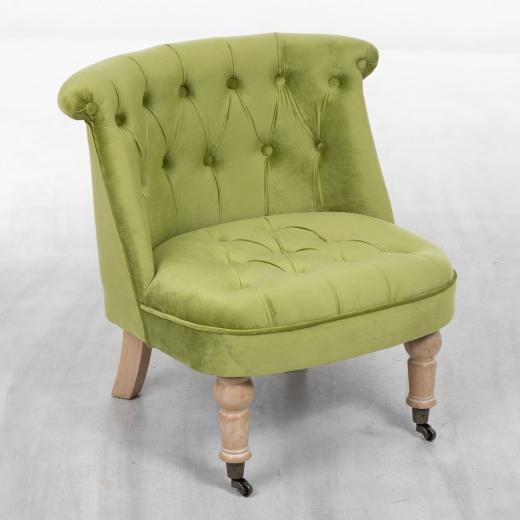 Green Velvet Cocktail Chair With Oak Legs