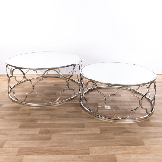 Silver Gilt Leaf Parisienne Metal Nests of Tables - set of two EXTRA PACKAGE