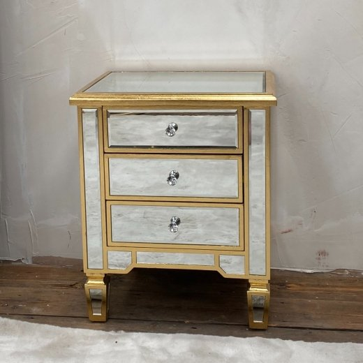 Genevieve Gold Three Drawer Mirrored Bedside