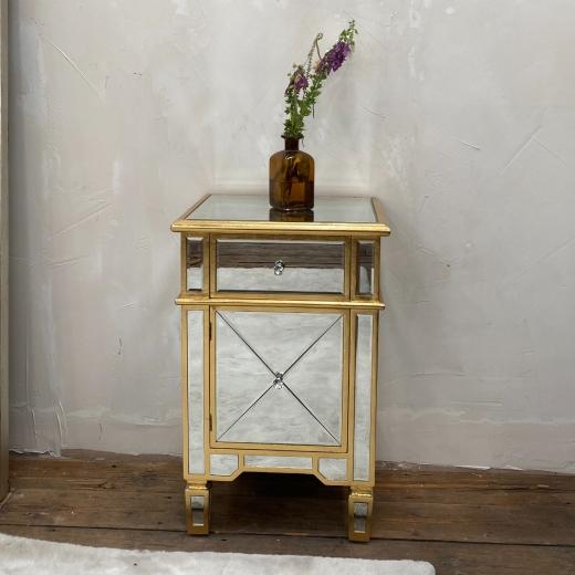 Genevieve Gold One Drawer One Door Bedside